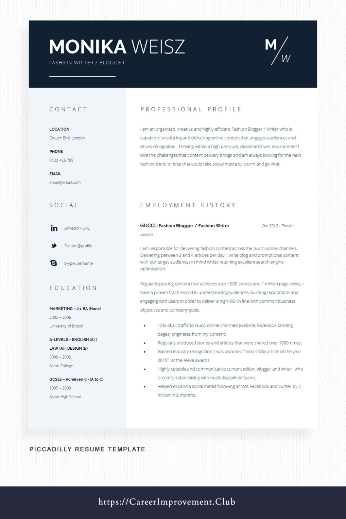 Pin on Resume Templates free