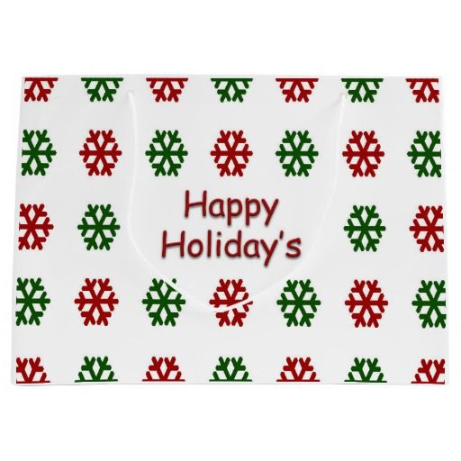 Happy Holiday's with a snowflake pattern Large Gift Bag