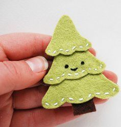 Cute Smiling Christmas Tree Pin