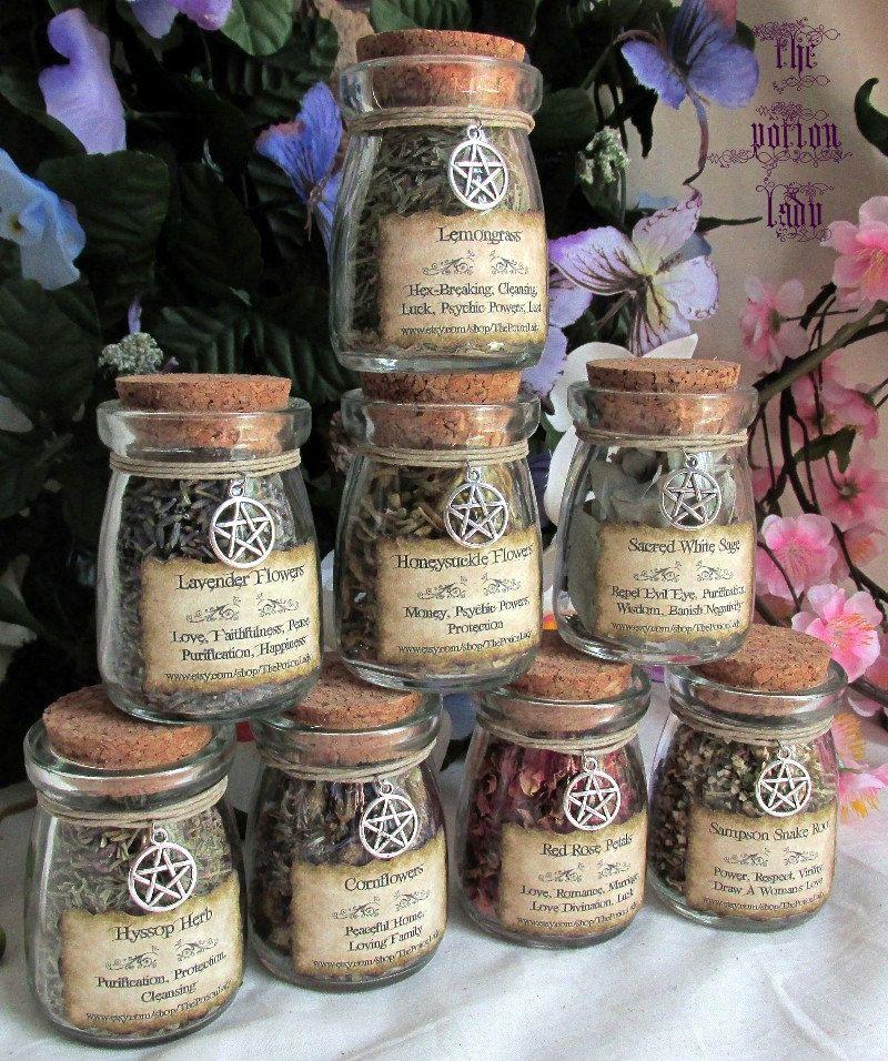 Set of Witch's Herbs Jars, Sacred Herbs, Wiccan Herb Jars, Herbal