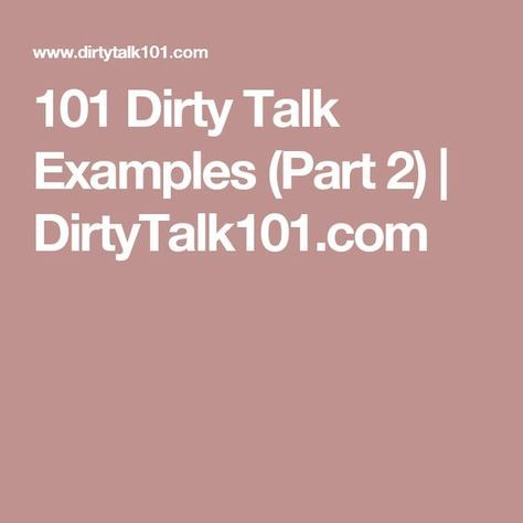 dirty sex talk examples