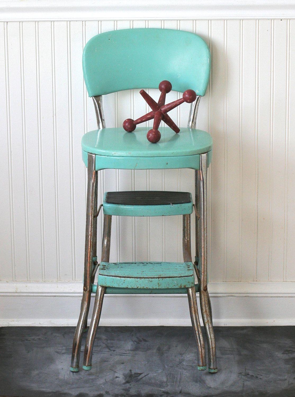 Circa 1950s Cosco Fold Out Step Stool Chair Aqua Turquoise Seafoam ...