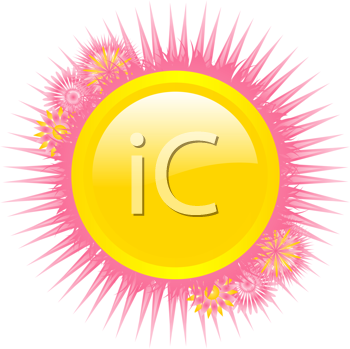 iCLIPART - Royalty Free Clipart Image of a Yellow Icon With a Pink Floral Border