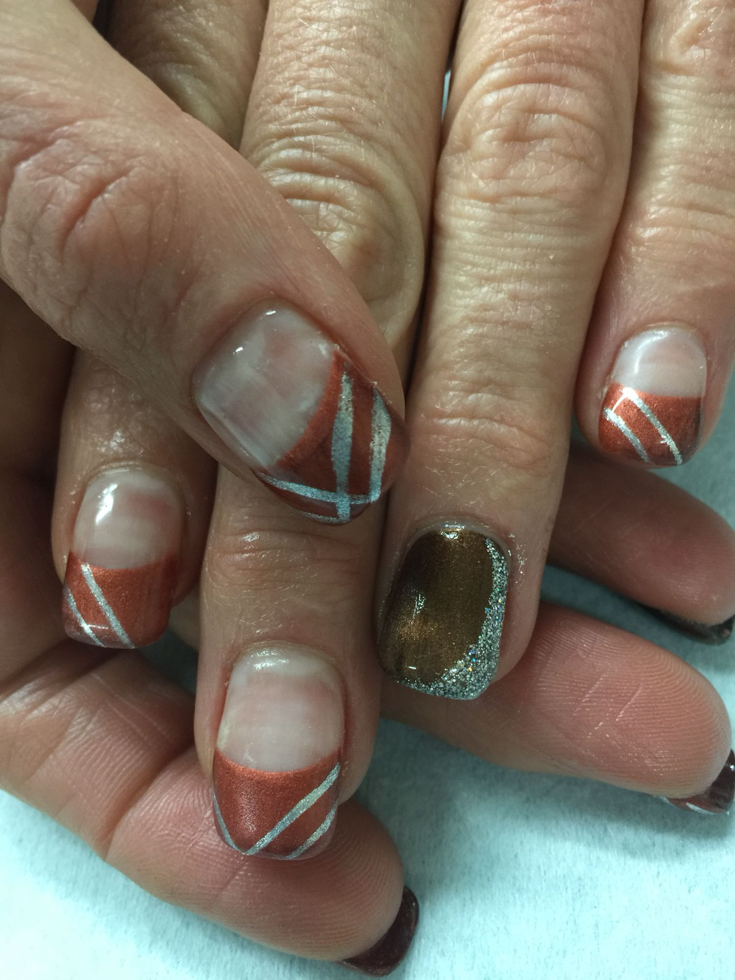 Fun edgy Fall copper, brown & silver French hard gel nails. All done ...