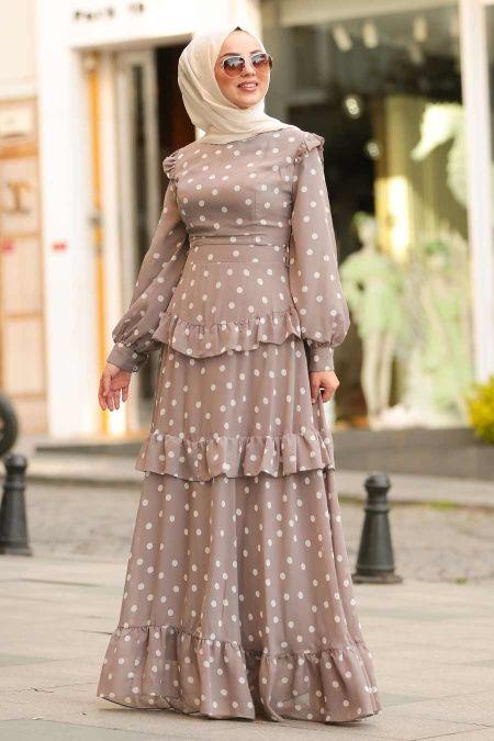 Nayla Collection Nayla Collection Puantiyeli Vizon Tesettur Elbise 1225v Islami Giyim Elbise Modelleri Puantiyeli Elbise