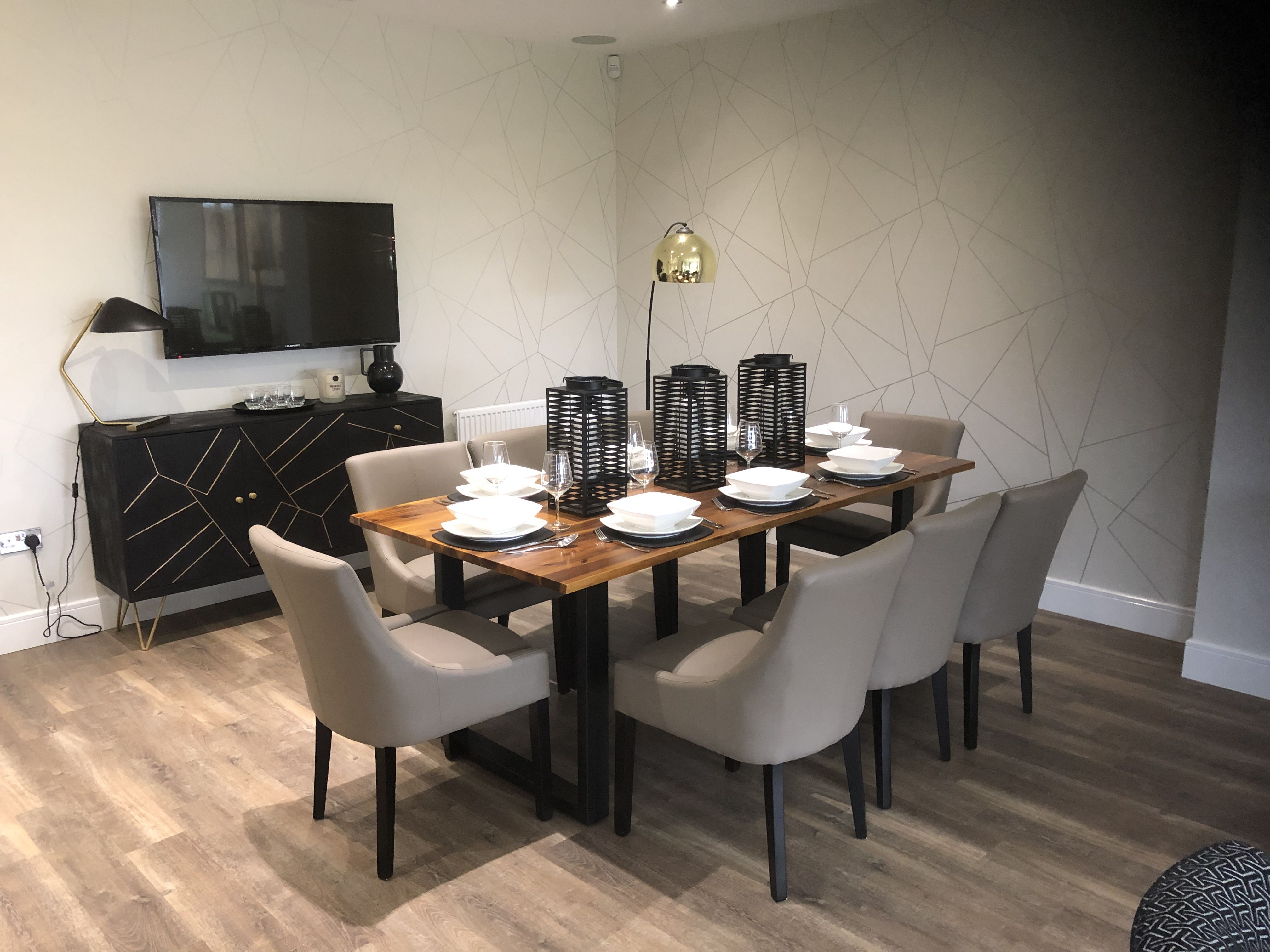 Blacks and browns wood dining table geometric side board
