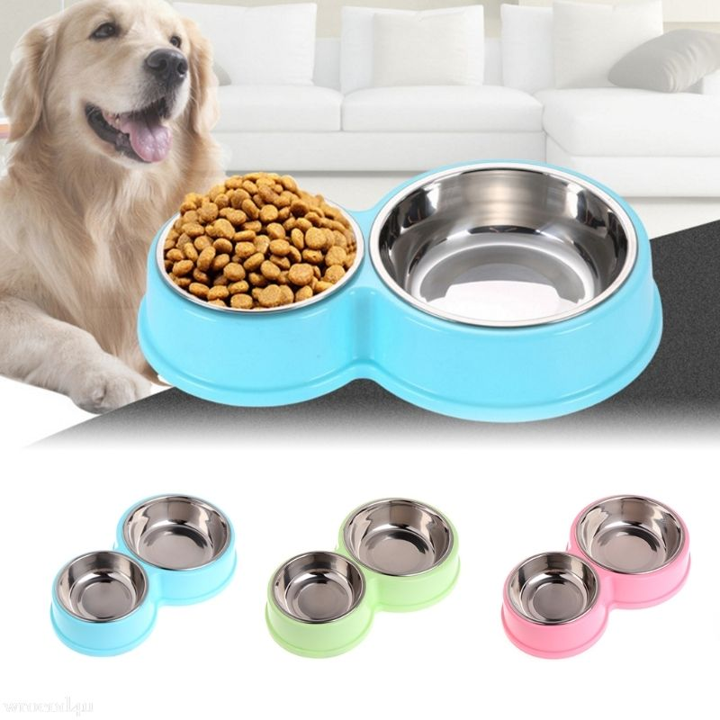 Pet Supplies Dog Bowl Double Stainless Steel Plastic Cat Food