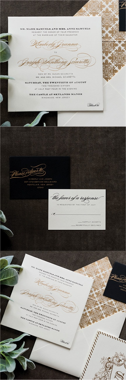 The Kimberly collection is the perfect mixture of glam and traditional. The wrapped square museum board holds a classic gold metallic script accompanied by a black block font. On the back side of the invitation is a monogram that sits inside a wispy crest all in gold metallic as well. Inside the envelope lays a gold metallic printed pattern that acts as a liner and pairs perfectly with the invitation to make for a truly timelessly classic look.