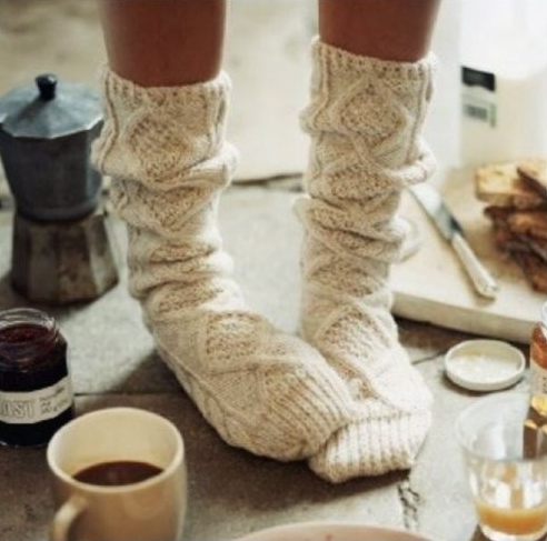 Turn sweater sleeves into warm socks - reuse the sleeves from old sweaters that were used in the sweater quilt.