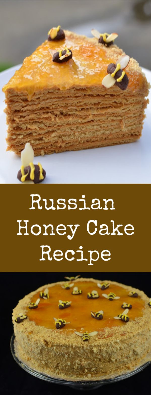 If you have ever tried Russian Honey cake, you know how amazing it is. Now you can make it yourself. #honeycake