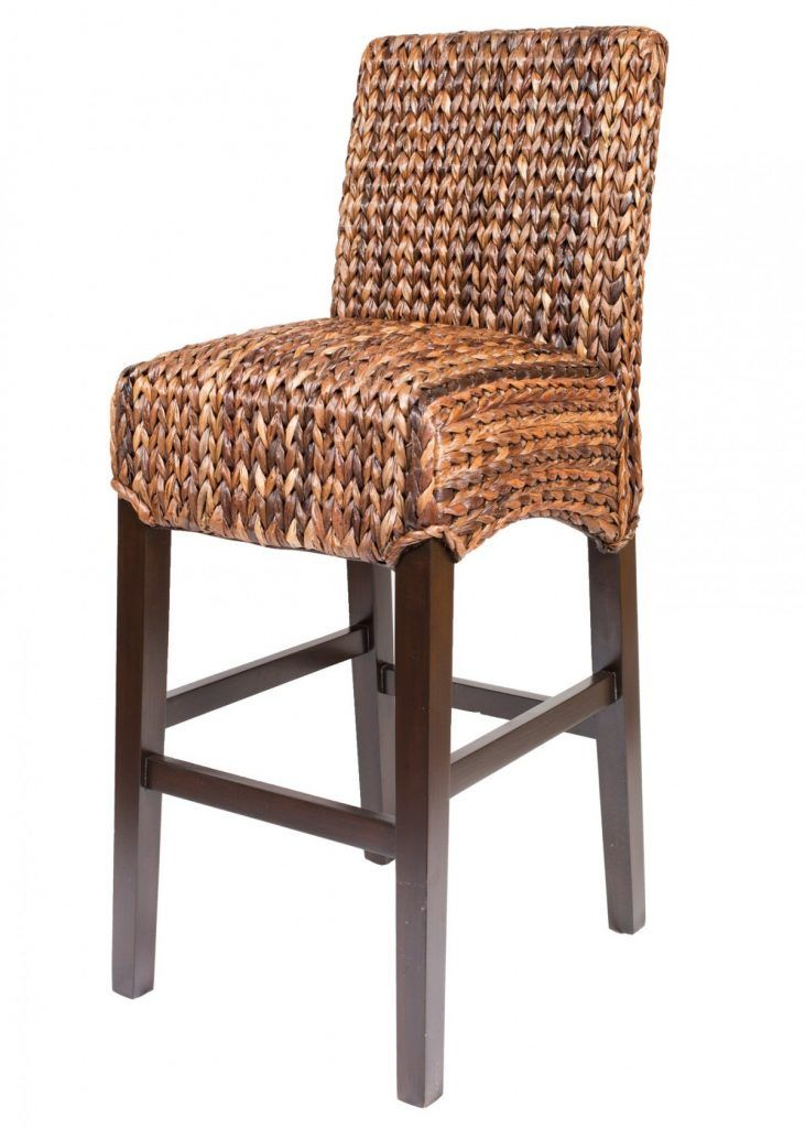 Furniture Light Brown Varnished Seagr Bar Stool With Wooden Legs And Foot Rest Stools