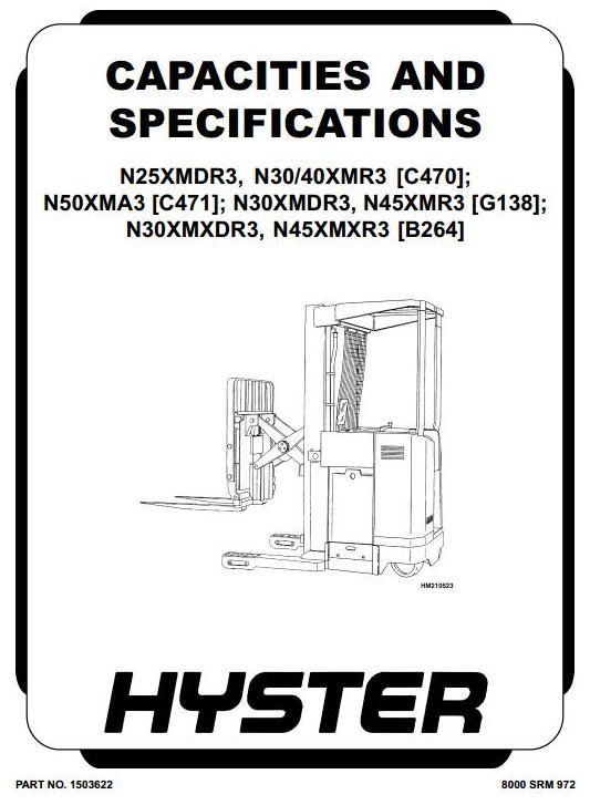 Hyster Electric Forklift Truck Type C470 N25xmdr3 N30xmr3 N40xmr3 Workshop Manual