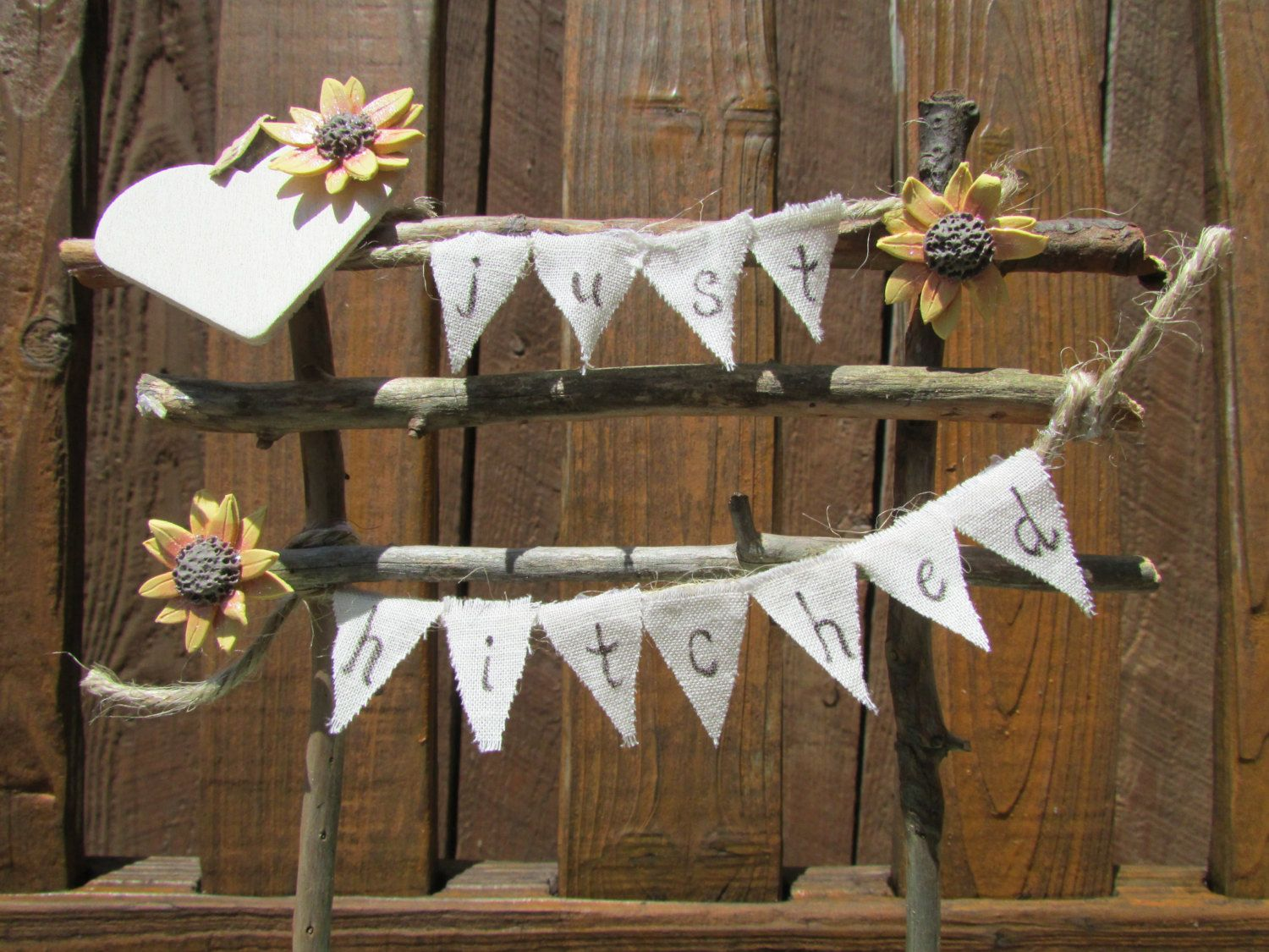 Just hitched wedding cake topper sunflower wedding post u rail