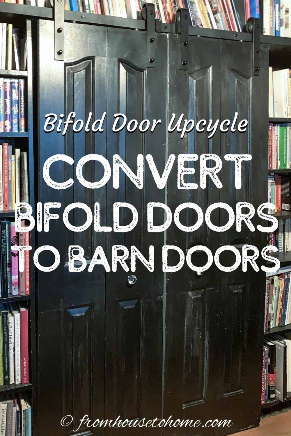 Learn how to convert bifold doors to barn doors with this DIY upcycling project that is an easy way to makeover your inexpensive closet doors #fromhousetohome #homedecor #diyproject #doors #barndoors  #diydecorating