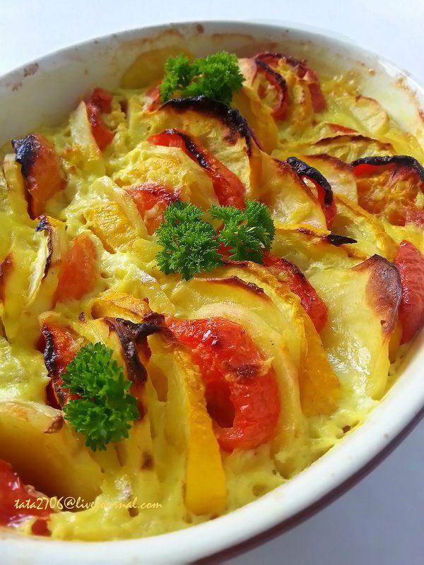 Запеканка из картофеля с кабачками и помидорами   Еда ...