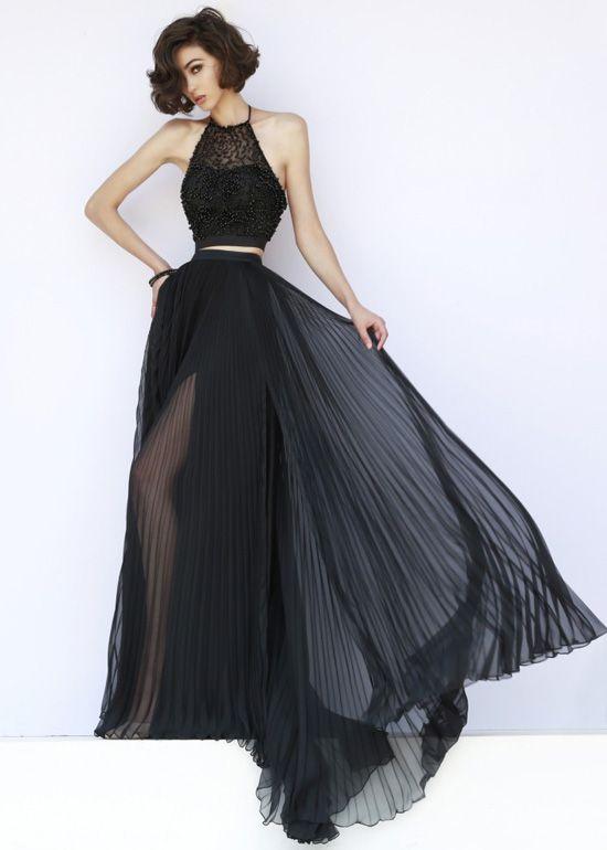 Halter neck beaded long prom dress