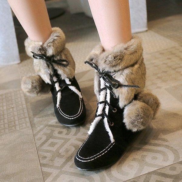 Women's Sweet Lace Up Hidden Heel Winter Snow Boots