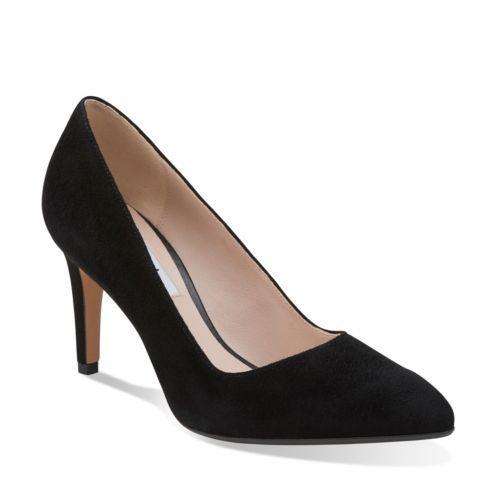 Clarks Womens Dalhart Sorbet Black Suede - Heels