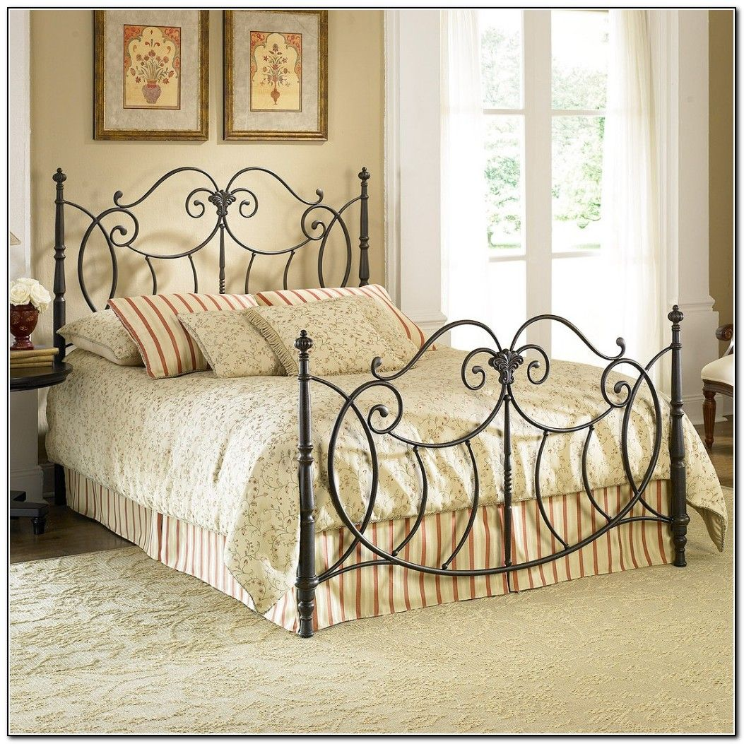 Oil Rubber Bronze Iron Bed Frame With Bars Headboard And Footboard