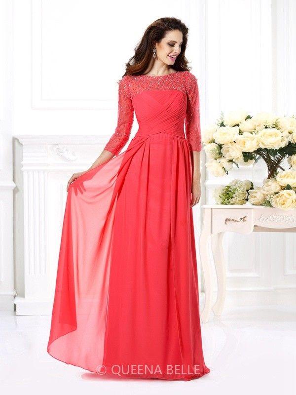 0f155cc745a0 A-Line Princess Scoop 3 4 Sleeves Beading Floor-Length Chiffon Dresses