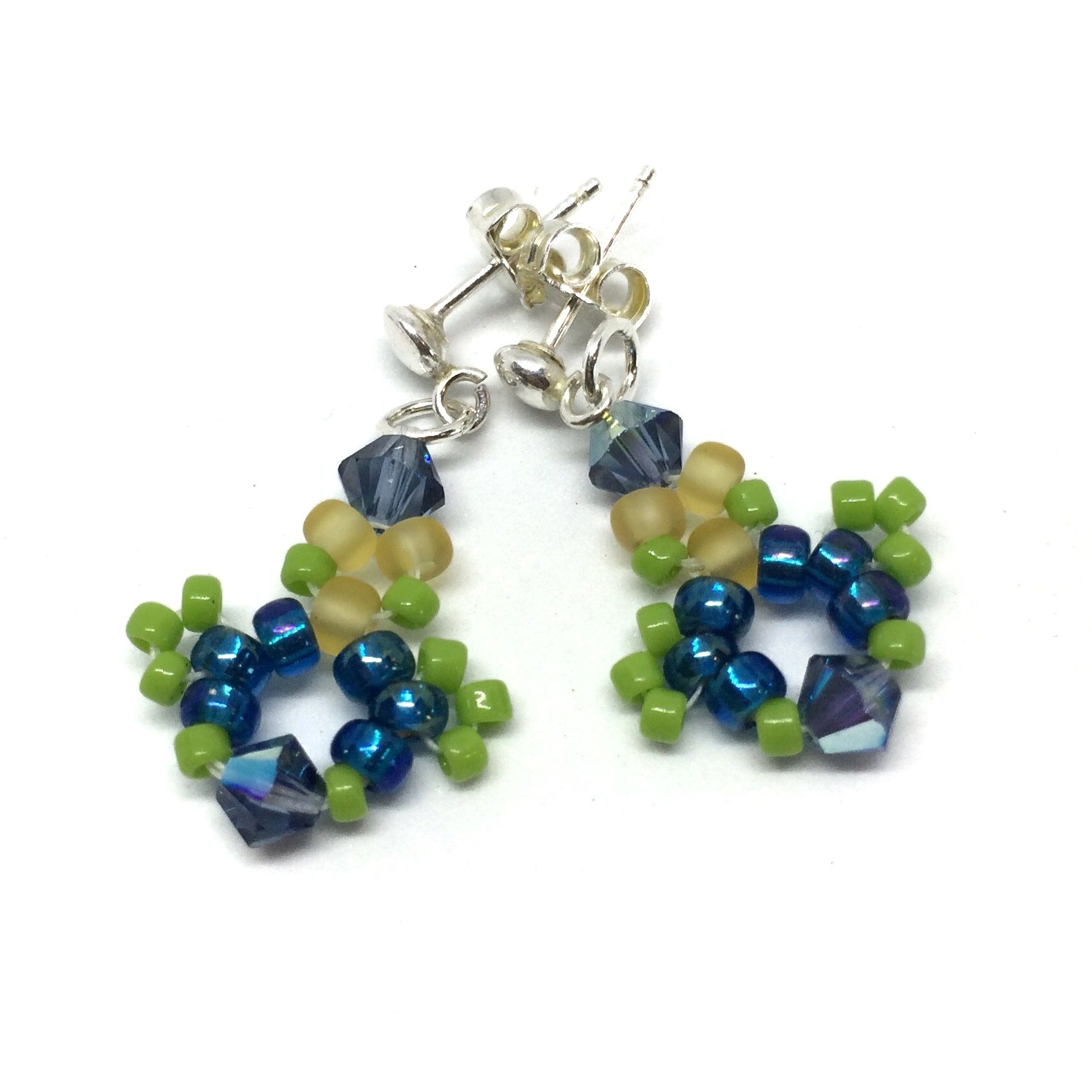 f17df47f79cf38 Lime Green and Aqua Crystal Sterling Silver Stud Earrings from ...