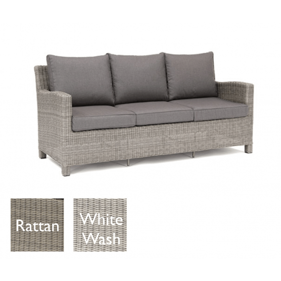 Kettler Palma 3 Seat Sofa - White Wash with Taupe cushions | Garden ...