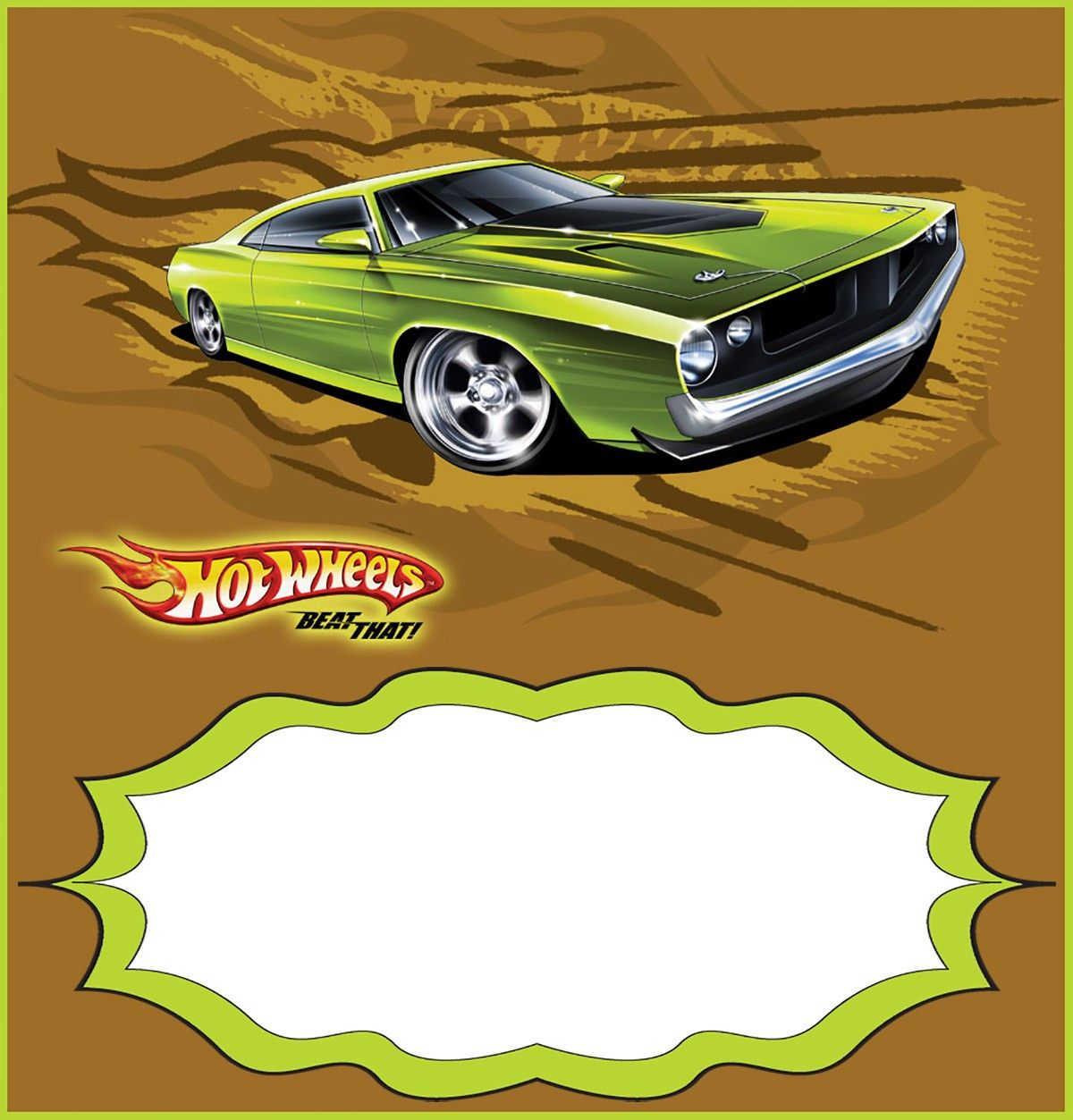 Custom Hot Wheels Invitation Template
