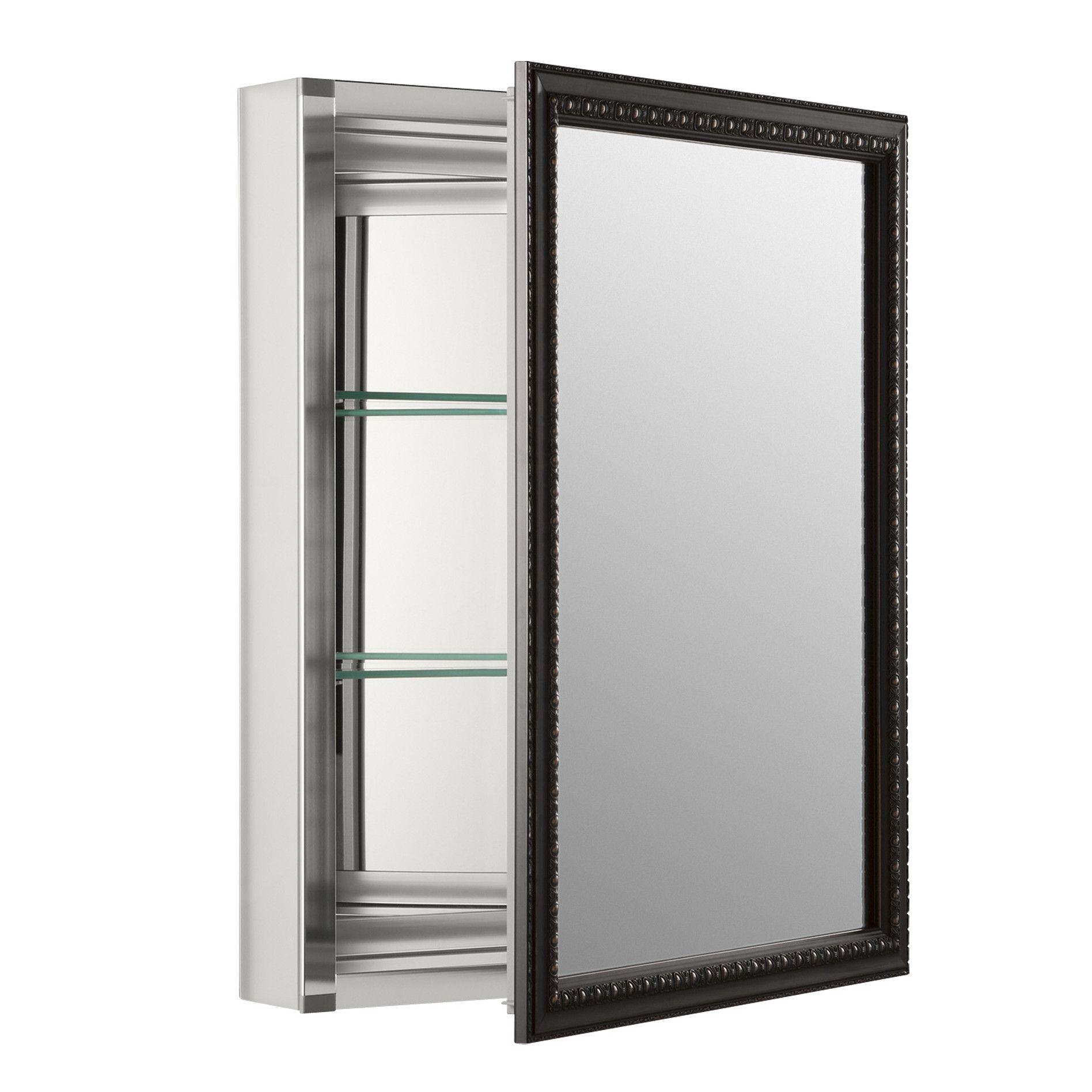 Recessed Or Surface Mount Framed 1 Door Medicine Cabinet With 2