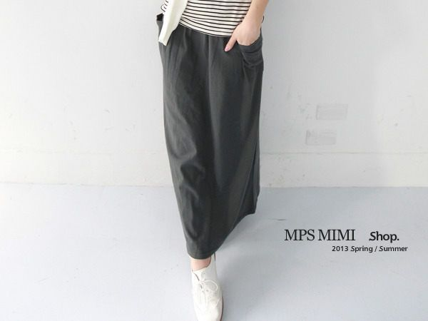 CliPick 的MPSMIMI 的現貨/鐵灰.腰配色雙口袋長裙 http://www.clipick.com/item?sid=158382