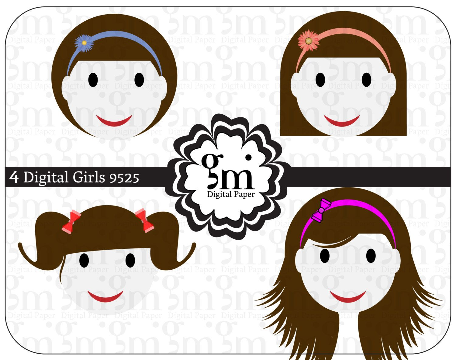 Girl Clipart, Cute Girl Clip Art, Instant Download, Girl Illustration, Girls Images, Digital Girl Clipart - pinned by pin4etsy.com