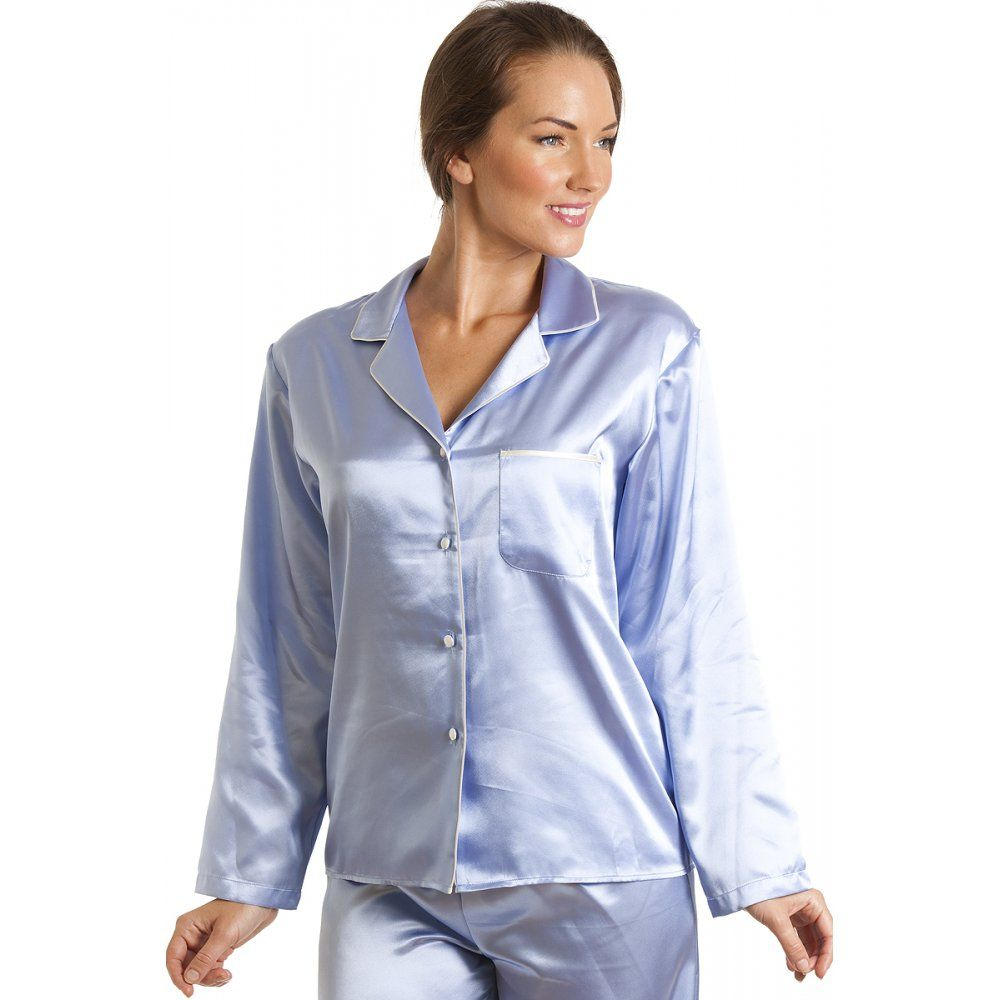 Camille Womens Ladies Luxury Satin Long Length Light Blue Pyjama Set ... 96b01f037