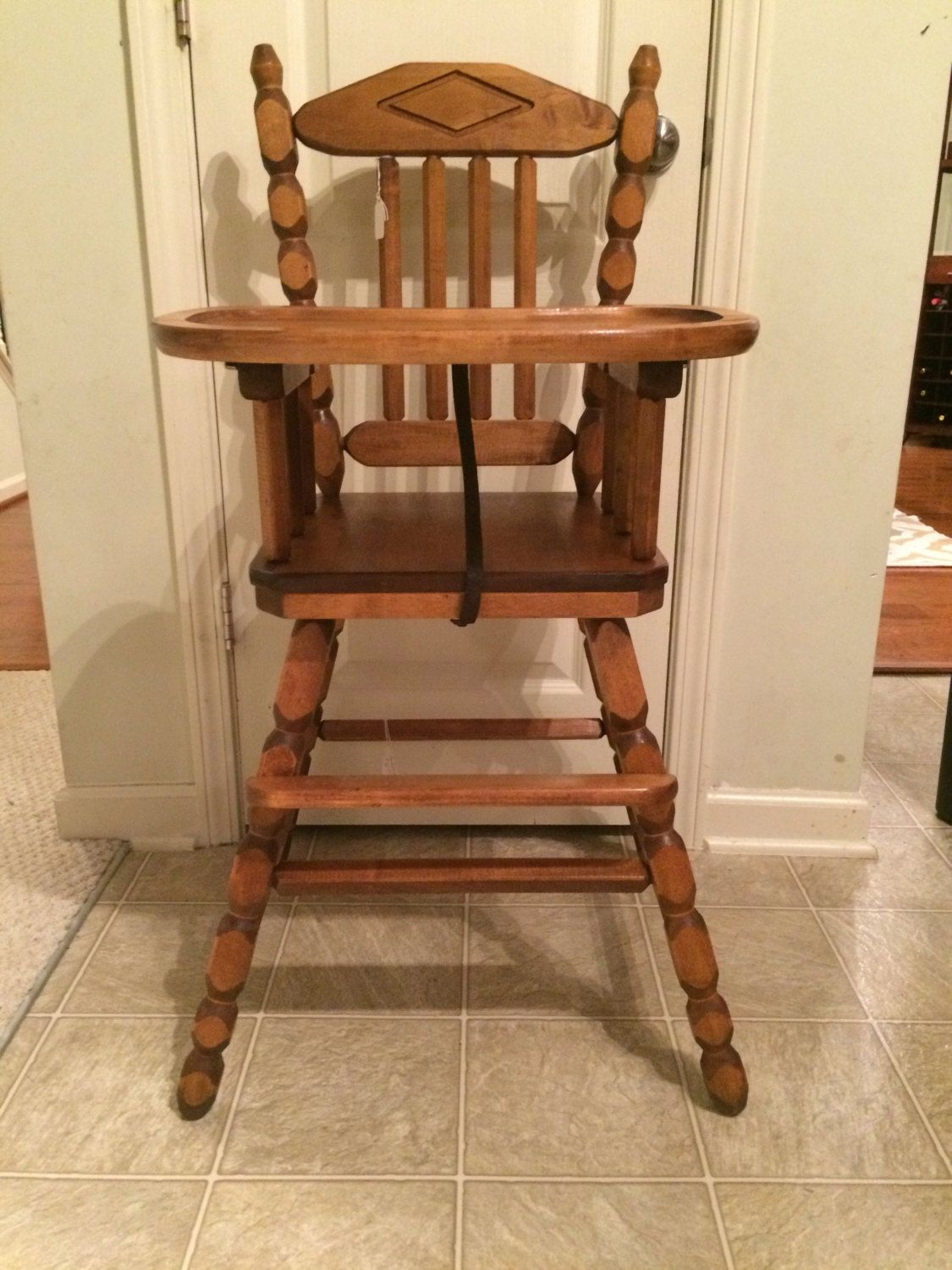 retro high chairs babies oval back dining chair slipcovers price reduced vintage wooden jenny lind