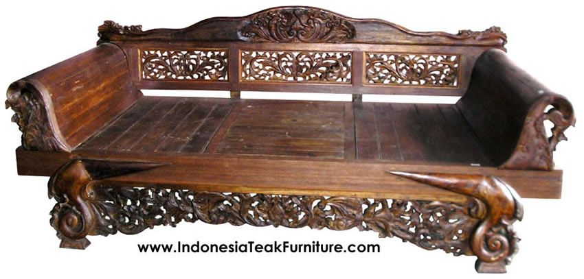 Delightful Teak Day Bed With Distinct Balinese Carvings. Works With Or Without A