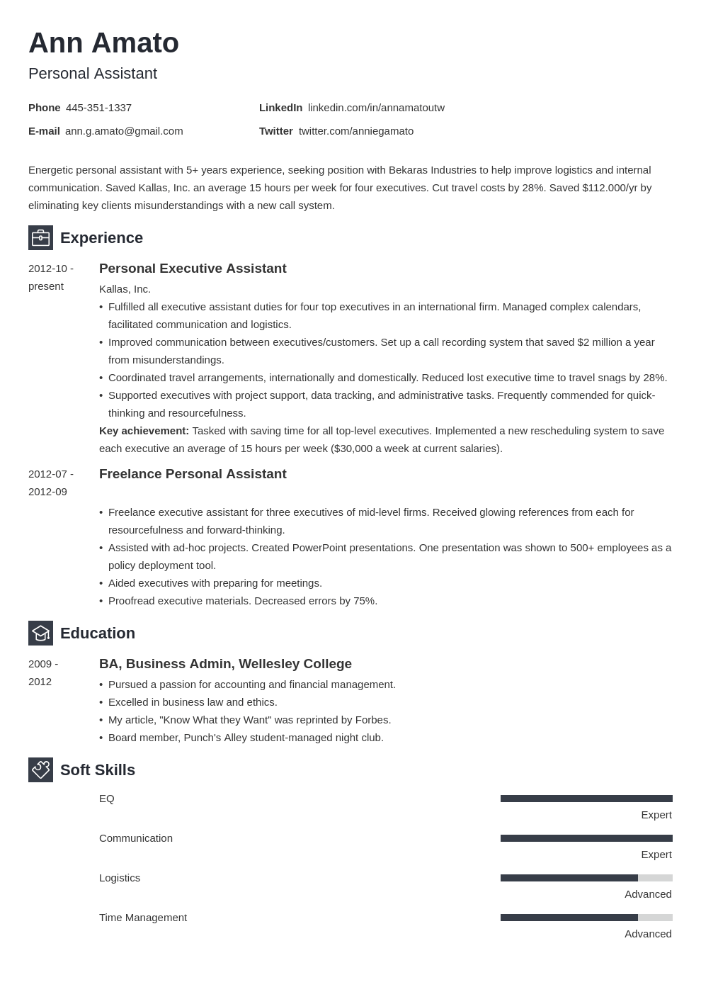 personal assistant resume example template newcast in 2020