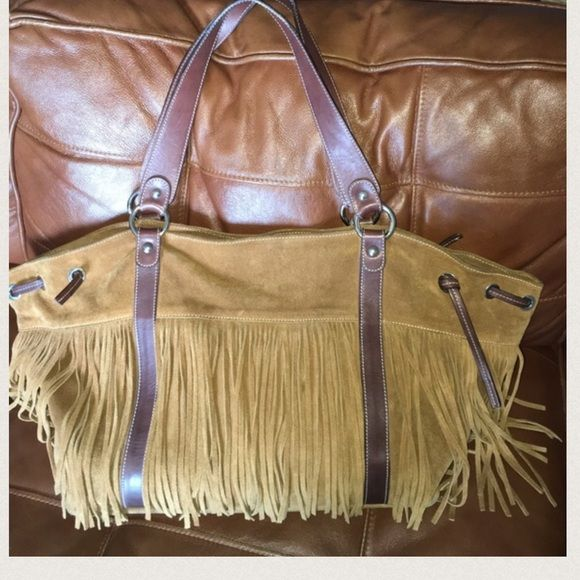 Cavalcanti Suede Fringe Tote Beautiful And Leather Very Good Condition Signs Of Use On