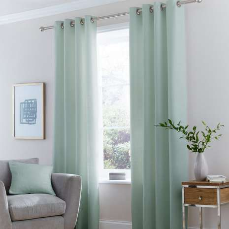 Delightful Vermont Seafoam Lined Eyelet Curtains