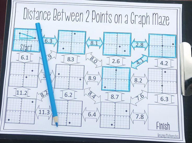 Distance Maze Worksheet Geometry worksheets, Pythagorean