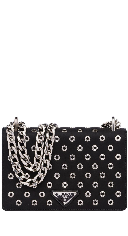 4decd947f022 Est. Retail: $1,860 $1,350 PRADA Tessuto Nylon Soft Calf Grommet Chain  Shoulder Bag Nero Black