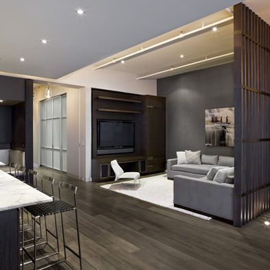 Vertical Slatted Room Divider Industrial Living Room Design Living Room Divider Tv Room Design