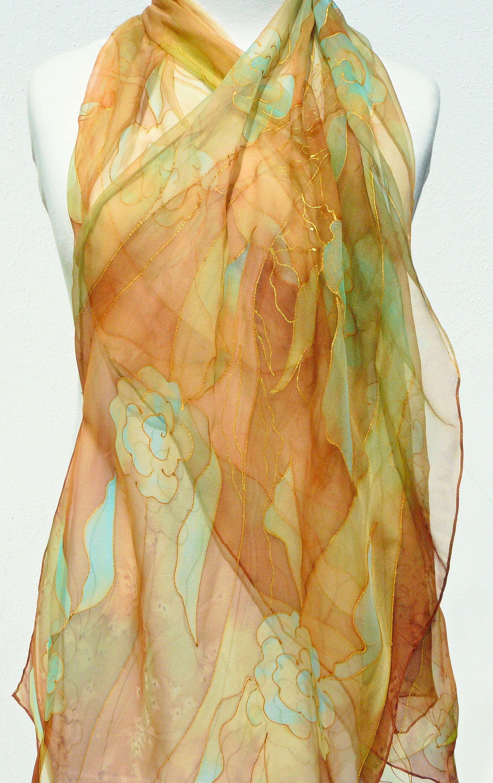 Brown Chiffon Silk Scarf Hand Painted Pale Beige Burnt Orange Turquoise Gold Sheer Silk Scarf Transparent Long Silk Wrap Light Brown Scarf Gold Sheers Orange And Turquoise Painting