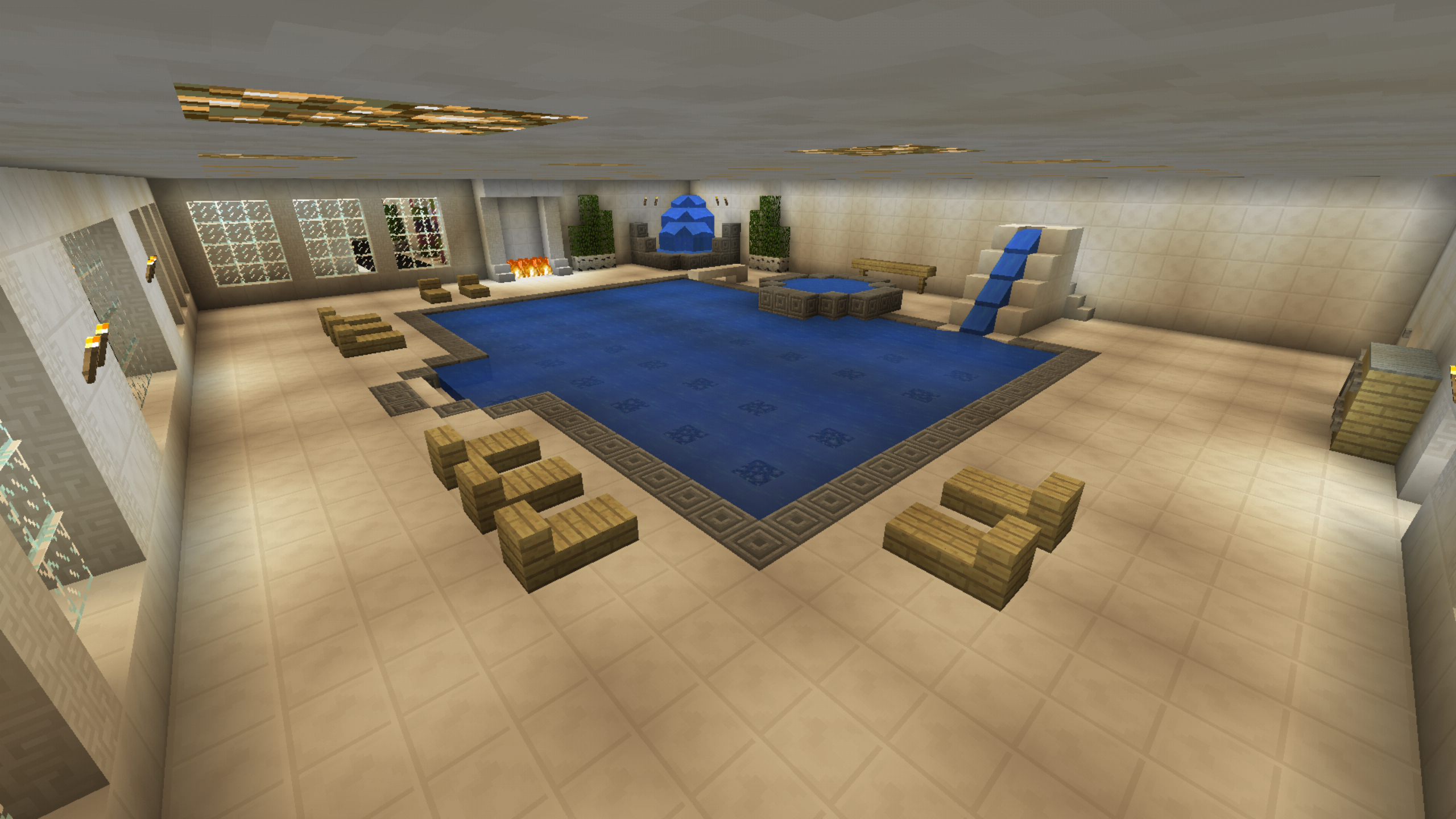 Minecraft Swimming Diving Board Water Slide Pool Hot Tub Jacuzzi Pool Hot Tub Diving Board Hot Tub Landscaping