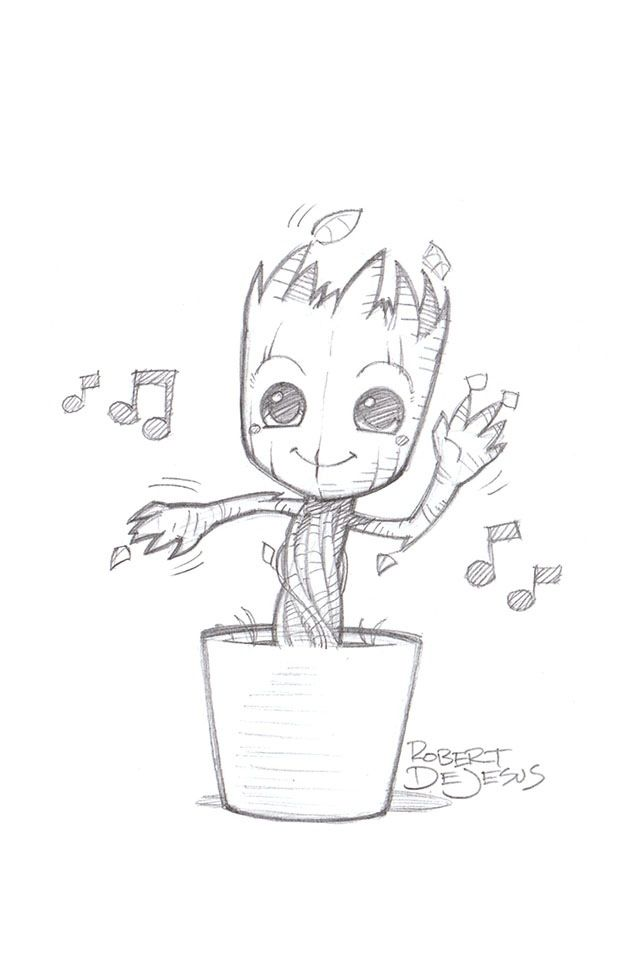 This is a picture of Adorable Realistic Baby Groot Drawing