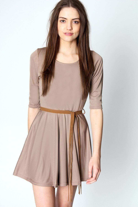 boohoo Annabelle 3/4 Sleeve Belted Ponti Roma Dress £20