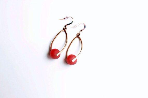 Red copper earrings African earrings twisted red by EnyoJewelry