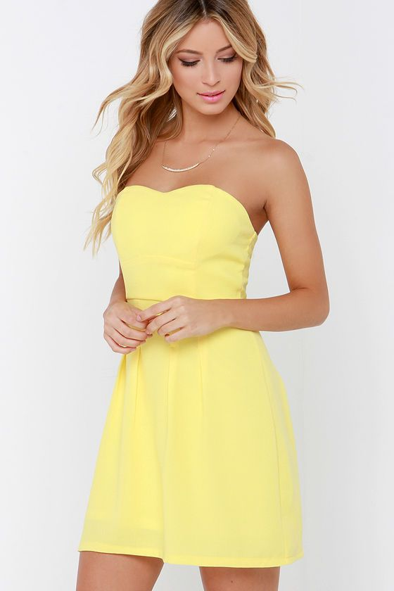 c1c64e2429f4 Classy Knoll Yellow Strapless Dress in 2019 | Fa$h!on #3 | Strapless ...