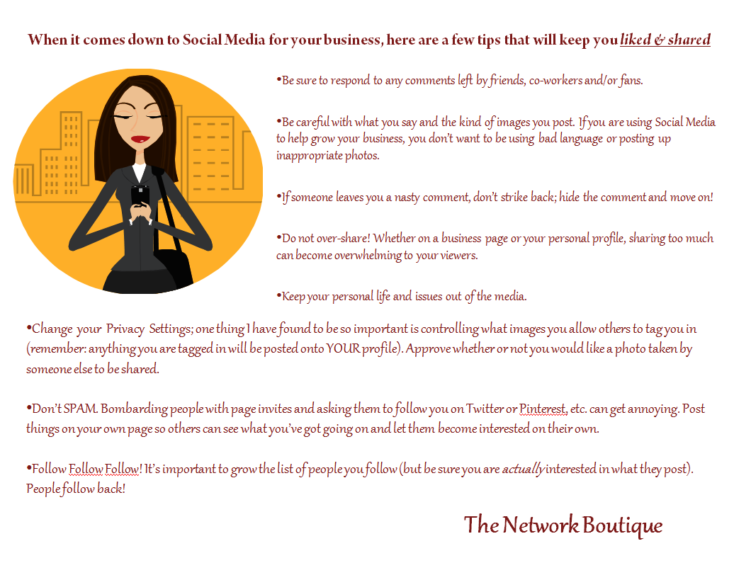 #socialmedia #thenetworkboutique #TNBTip #socialmediatips #womeninbusiness  #careerwomen #career #women