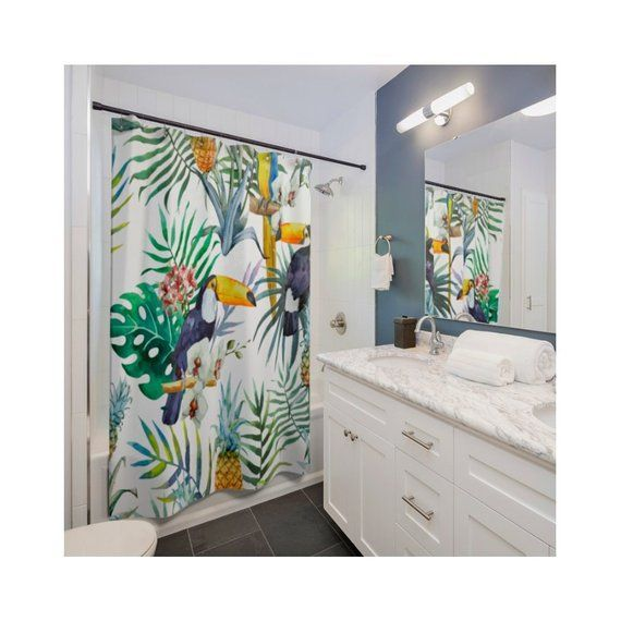 tropical decor Birds Shower Curtain Palm Leaves shower