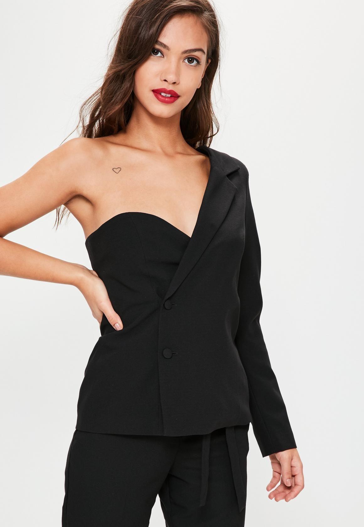 652f4924943815 Missguided - Black One Sleeve Crepe Blazer