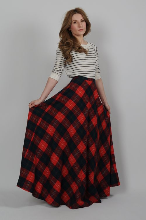Vintage 70s Plaid Wool High Waisted Ultra Full Maxi Skirt