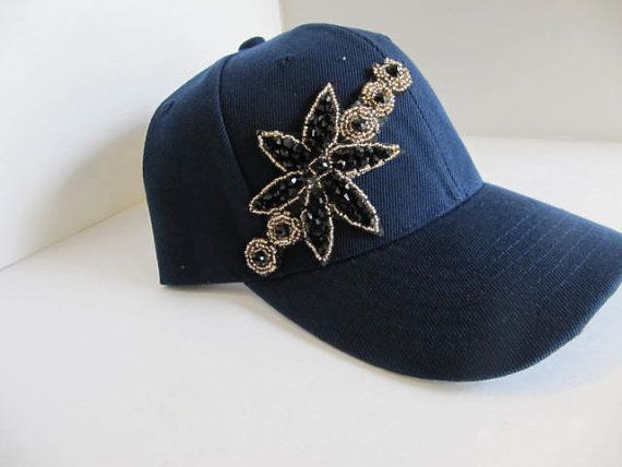 d4e5065bf5034d Hat, Baseball Style, Navy Blue, Crystal Cap, Rhinestone Hat, Bling Hat,  Woman, Cap, Bling Cap on Etsy, $28.00